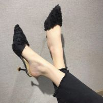 slipper 34,35,36,37,38,39,40 Other / other Black, off white, red, new products on the market Fine heel High heel (5-8cm) Suede Summer of 2019 rubber Korean version Adhesive shoes Youth (18-40 years old) Solid color PU PU