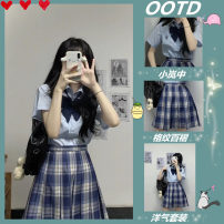 Women's large Spring 2021 Blue shirt Plaid pleated skirt suit S M L XL Dress Two piece set commute Short sleeve Polo collar routine routine 9876fgdsaxcbnm Charming Naizi 18-24 years old 81% (inclusive) - 90% (inclusive) Short skirt Cotton 100% Pure e-commerce (online only) Pleated skirt