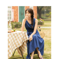 Dress Summer of 2019 Denim blue S,M,L,XL longuette singleton  Sleeveless commute V-neck High waist Socket A-line skirt 25-29 years old Type H Inman  literature 51% (inclusive) - 70% (inclusive) other