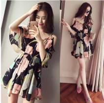 Dress Summer 2020 Decor S,M,L,XL,2XL Short skirt singleton  Sleeveless commute V-neck middle-waisted Decor Socket A-line skirt routine camisole 18-24 years old Type A Other / other Korean version Ruffles, bows 31% (inclusive) - 50% (inclusive) Chiffon Cellulose acetate