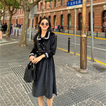 Dress Spring 2021 black S,M,L longuette singleton  Long sleeves commute Doll Collar High waist Solid color double-breasted A-line skirt routine Others 18-24 years old Type A Other / other Korean version Lace up, button LYQ20201126001 91% (inclusive) - 95% (inclusive) other polyester fiber
