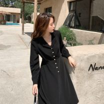 Dress Autumn 2020 black S,M,L Mid length dress singleton  Long sleeves commute tailored collar High waist Solid color Socket Big swing shirt sleeve Others 18-24 years old Type A Other / other Korean version hole LYQ0266 91% (inclusive) - 95% (inclusive) Chiffon polyester fiber