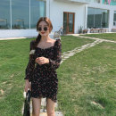 Dress Autumn 2020 black S,M,L Short skirt singleton  Long sleeves commute square neck High waist Broken flowers Socket Ruffle Skirt Princess sleeve Others 18-24 years old Type A Other / other Korean version Fold, lace up LYQ0261 91% (inclusive) - 95% (inclusive) Chiffon polyester fiber