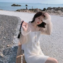 Dress Autumn 2020 Off white S,M,L Short skirt singleton  Long sleeves commute V-neck High waist Solid color zipper A-line skirt Princess sleeve Others 18-24 years old Type A Other / other Korean version Button, mesh 91% (inclusive) - 95% (inclusive) other polyester fiber