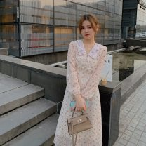 Dress Autumn 2020 Apricot S,M,L Mid length dress singleton  Long sleeves commute Doll Collar High waist Broken flowers Socket A-line skirt routine Others 18-24 years old Type A Other / other Korean version Button LYQ20201016007 91% (inclusive) - 95% (inclusive) Chiffon polyester fiber