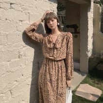 Dress Spring 2021 Blue, off white, orange flowers, milk tea leopard print S,M,L longuette singleton  Long sleeves commute V-neck High waist Decor Socket A-line skirt routine Others 18-24 years old Type A Other / other Korean version Bow, pocket, tie LYQ20210116001 91% (inclusive) - 95% (inclusive)