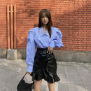 skirt Summer 2020 S,M,L Blue striped shirt, black skirt Short skirt Retro High waist High waist skirt Solid color Type A 18-24 years old BSQ025 81% (inclusive) - 90% (inclusive) other Other / other polyester fiber Ruffles, asymmetric, worn