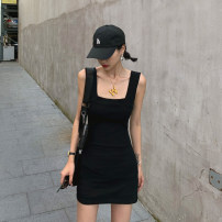 Dress Summer 2020 White, black, grey S,M,L Short skirt singleton  Sleeveless commute Crew neck High waist Solid color Socket A-line skirt routine camisole 18-24 years old Type A Other / other Korean version backless More than 95% other cotton