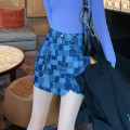 skirt Autumn 2020 S,M,L,XL Blue check Short skirt commute High waist A-line skirt lattice Type A 18-24 years old BSQ040 91% (inclusive) - 95% (inclusive) Denim Other / other cotton Asymmetry Korean version 201g / m ^ 2 (including) - 250G / m ^ 2 (including)