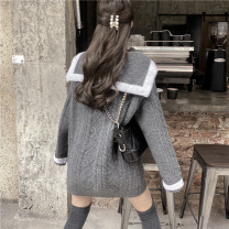 Women's large Spring 2021 grey S M L XL sweater commute Long sleeves EWMD75648 Shangqinmi 18-24 years old Other 100% Pure e-commerce (online only)