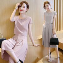 Dress Summer of 2018 Two piece set Short sleeve commute Crew neck High waist Solid color Socket routine Others 18-24 years old Type H See description Korean version bow Chiffon suit 71% (inclusive) - 80% (inclusive) Chiffon