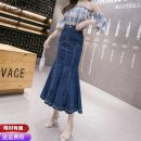 skirt Spring 2021 S M L XL 2XL blue longuette commute High waist Ruffle Skirt Solid color Type A 25-29 years old CBN131227 91% (inclusive) - 95% (inclusive) other Pure Benny polyester fiber Lotus leaf edge Korean version Polyethylene terephthalate (polyester) 91% others 9%