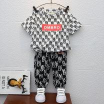 suit Youxiaoyou Black Khaki 90cm 100cm 110cm 120cm 130cm 140cm 150cm male summer leisure time Short sleeve + pants 2 pieces Thin money No model Socket nothing cotton children