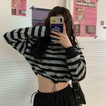 Sweater / sweater Spring 2021 Striped top Average size Long sleeves have cash less than that is registered in the accounts Socket singleton  routine Crew neck easy street routine stripe 96% and above cotton # one thousand and thirty-five Drawstring cotton Cotton liner Sports & Leisure