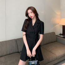 Dress Spring 2021 Black (with belt) 0549 ᦇ white 0549 ᦇ black 1251 black 1251 yellow S M L XL Short skirt singleton  Long sleeves commute tailored collar High waist Solid color Single row two buttons A-line skirt routine 18-24 years old Type A Peiluoying Button 9805# More than 95% other Other 100%