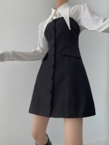 Dress Spring 2021 black S, M Short skirt Two piece set Sleeveless commute middle-waisted Solid color Single breasted A-line skirt Breast wrapping Type A Other / other Simplicity More than 95% other polyester fiber