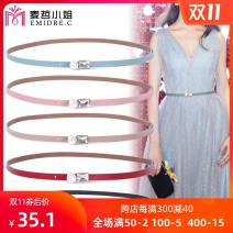 Belt / belt / chain Double skin leather Khaki, red, coffee, black, haze blue, macarone, light green, pink female belt Sweet Single loop Youth, middle age Smooth button Diamond inlay soft surface 1cm alloy Naked, inlaid Emidre. C / Ms. Maizhe DL1960