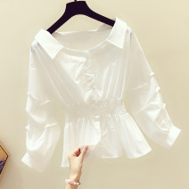 shirt Black, white S. M, l, XL, limited quantity 29.9 yuan Spring 2020 other 96% and above Long sleeves commute Regular V-neck Single row multi button puff sleeve Solid color 18-24 years old Self cultivation Retro Pleats, buttons cotton