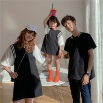 Parent child fashion Black Polo Skirt Black Polo Shirt A family of three Unisex for women and men Ciel & Dora / shire and Dora 80cm 90cm 100cm 110cm 120cm 130cm 140cm S M L XL XXL CDT21B024 summer Korean version routine Solid color Finished T-shirt cotton L M S CDT21B024 S M L XL XXL Summer 2021