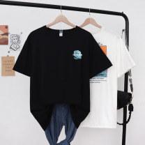 T-shirt White black M L XL Spring 2021 Short sleeve Crew neck easy Medium length routine commute polyester fiber 51% (inclusive) - 70% (inclusive) Korean version originality Landscape of letters Polyester 65% cotton 35% Pure e-commerce (online only)