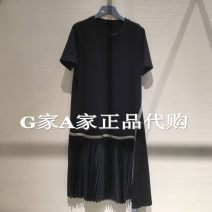 Dress Summer 2021 longuette commute Short sleeve singleton  Crew neck Solid color High waist More than 95% Pleated skirt Condom routine cotton Type H 5500340-4204011-001 Brother amashi lady Other brocade Two, three, four, five