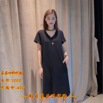 Dress Summer 2021 Black, red Two, three, four, five Mid length dress singleton  Long sleeves commute V-neck High waist Solid color Socket other routine Others 30-34 years old Type H Brother amashi 51% (inclusive) - 70% (inclusive) other Cellulose acetate
