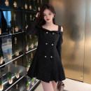 Dress Autumn 2020 black S M L Miniskirt 18-24 years old Andrea Martin kOO0xK More than 95% other Triacetate fiber (triacetate fiber) 100%