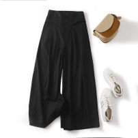 Casual pants White, black, yellow, blue, Beixing M [105 kg and below], l [105-120 kg], XL [120-135 kg], 2XL [135-150 kg], 3XL [150-165 kg], 4XL [165-180 kg] Summer 2020 Ninth pants Wide leg pants High waist commute Thin money 96% and above hemp Korean version pocket hemp