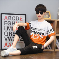 suit Nectarine beibe M L XL 2XL 3XL male summer leisure time Long sleeve + pants 2 pieces Thin money There are models in the real shooting Socket nothing cotton children Cotton 91.8% polyurethane elastic fiber (spandex) 8.2% Summer 2021 Chinese Mainland Jiangsu Province Suzhou