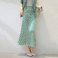 skirt Spring 2021 green Mid length dress High waist A-line skirt printing