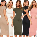 Women's large Summer 2020 Black, white, army green, khaki, red, pink S. Large XL, large L, m, XXL, XXXL singleton  commute Short sleeve Solid color Crew neck other routine Other / other 18-24 years old Pencil skirt