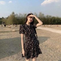 Middle aged and old women's wear Summer 2021 black S,M,L,XL commute Dress singleton  Broken flowers Conjoined moderate routine MAJE BRIAN 81% (inclusive) - 90% (inclusive) Short skirt Korean version
