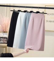 skirt Summer 2021 S,M,L,XL Black, white, blue, pink longuette Versatile High waist skirt Solid color Type A 51% (inclusive) - 70% (inclusive) other other Zipper, fold