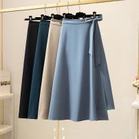 skirt Spring 2021 S,M,L,XL Black, blue, navy longuette Versatile High waist Umbrella skirt Solid color Type A 25-29 years old 51% (inclusive) - 70% (inclusive) other cotton