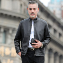 leather clothing Others Business gentleman 52-125 kg-l, 54-140 kg-xl, 56-155 kg-2xl, 58-170 kg-3xl, 60-190 kg-4xl routine Imitation leather clothes stand collar Straight cylinder zipper spring leisure time middle age Other 100% Business Casual B001 Straight hem Side seam pocket Style details other