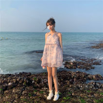 Dress Spring 2021 Picture color S,XL,L,M Short skirt singleton  Sleeveless commute Lotus leaf collar High waist Broken flowers Socket A-line skirt other camisole 18-24 years old Type A 51% (inclusive) - 70% (inclusive) Chiffon polyester fiber