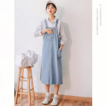 Dress Summer of 2019 Denim blue S,M,L,XL,2XL,3XL longuette singleton  Sleeveless commute other High waist Solid color Socket other other straps 18-24 years old Type H Other / other Korean version pocket 18TX6973