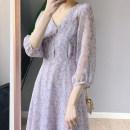 Women's large Summer 2020 lilac colour Large L, large XL, s, M Dress singleton  Sweet thin Socket three quarter sleeve V-neck Medium length MAJE BRIAN 96% and above Medium length Princess Dress