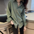 shirt White green apricot S M L XL 2XL 3XL 4XL Autumn 2020 other 96% and above Long sleeves commute Regular Polo collar Single row multi button routine Solid color 18-24 years old Straight cylinder L'uechunre Korean version Button Other 100% Pure e-commerce (online only) Chiffon