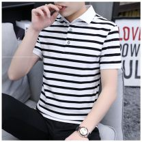 T-shirt Youth fashion Black and white stripes gw206, red and blue stripes gw206, black and yellow stripes gw206, gw207 white stripes, gw207 red stripes, gw207 black stripes, gw205 white stripes, gw205 red stripes, gw205 black stripes routine M,L,XL,2XL,3XL Others Short sleeve Lapel standard daily