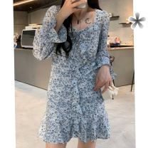 Dress Spring 2021 Black, blue, k57-a-black, h23-r-blue S,M,L longuette singleton  Long sleeves street square neck High waist Broken flowers Socket other routine Others 18-24 years old Type A Other / other F4314 other polyester fiber navy