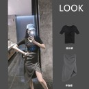 Women's large Summer 2021 Two piece set commute thin Short sleeve Solid color Korean version V-neck polyester fiber routine Star Charm 18-24 years old longuette Triacetate 70% Cotton 30% Same model in shopping mall (sold online and offline) shorts