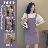 Tie clip T-shirt purple suspender skirt suit s T-shirt purple suspender skirt suit m T-shirt purple suspender skirt suit l T-shirt purple suspender skirt suit XL Star Charm ERFWERER233 Summer 2021 yes
