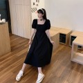 Dress Summer 2021 black M,L,XL,2XL,3XL longuette singleton  Short sleeve commute square neck High waist Solid color Socket A-line skirt puff sleeve Breast wrapping 18-24 years old Type A 71% (inclusive) - 80% (inclusive) other polyester fiber