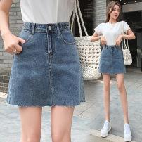 skirt Summer 2021 S,XL,2XL,L,M blue Short skirt commute High waist A-line skirt lattice Type A 18-24 years old Wei 51% (inclusive) - 70% (inclusive) Denim Korean version