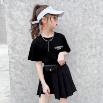Dress Black and white female Ziruibaba 110cm 120cm 130cm 140cm 150cm 160cm Cotton 90% polyester 10% summer Korean version Short sleeve Solid color cotton A-line skirt Two pleated dresses Class B Summer 2021 Chinese Mainland Zhejiang Province Huzhou City