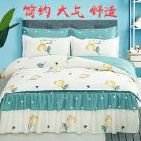 Bedding Set / four piece set / multi piece set Polyester (polyester fiber) other Plants and flowers 128x70 Yufeiyun Polyester (polyester fiber) 4 pieces 40 1.5m (5 ft) bed, 1.8m (6 ft) bed, 2.0m (6.6 ft) bed Bed sheet, bed skirt Qualified products Princess style twill Reactive Print  Thermal storage