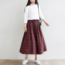 Parent child fashion Large swing pleated plaid skirt other female Other / other Elastic waist (skirt piece) See description S330 large swing pleated plaid skirt Cotton 97% other 3% 12 months