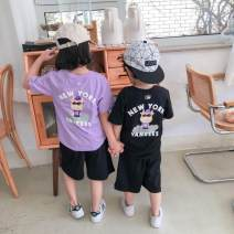 suit Xinduoyang White, black, purple 110cm,120cm,130cm,140cm,150cm neutral summer Korean version Short sleeve + pants 2 pieces routine There are models in the real shooting Socket nothing other cotton children Giving presents at school Class A Cotton 95% other 5% Chinese Mainland