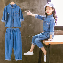 suit Other / other Double denim pocket suit The recommended height is 100cm for Size 110, 110cm for Size 120, 120cm for Size 130, 130cm for size 140, 140cm for size 150 and 150cm for size 160 female spring and autumn leisure time Long sleeve + pants 2 pieces routine nothing Denim Class B